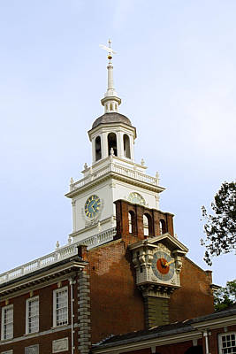 Independence Hall Clocks Poster by Sally Weigand