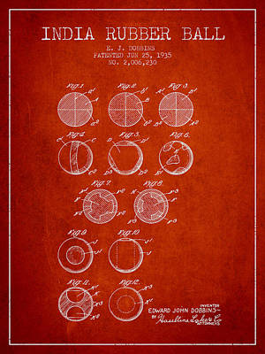 India Rubber Ball Patent From 1935 -  Red Poster by Aged Pixel