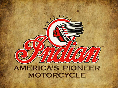 Indian America's Pioneer Motorcycle Poster by Mark Rogan