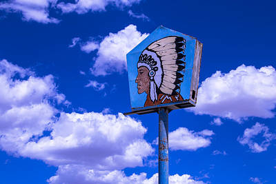 Indian Chief Sign In Clouds Poster by Garry Gay