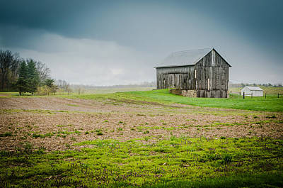 Indiana Barn In The Rain Poster by Anthony Doudt