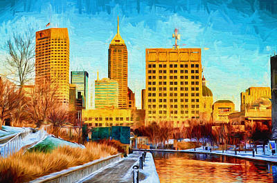 Indianapolis Skyline Canal View Digital Painting Poster by David Haskett