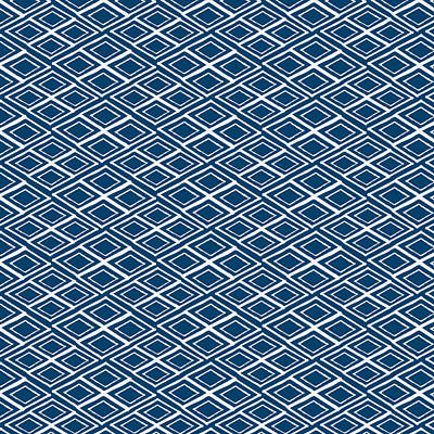 Indigo And White Small Diamonds- Pattern Poster by Linda Woods