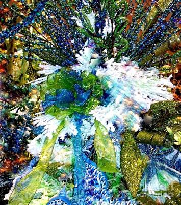 Indigo Blue Green Festive Holiday Poster by Janine Riley
