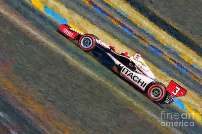 Indy Car's Helio Castroneves Poster by Blake Richards
