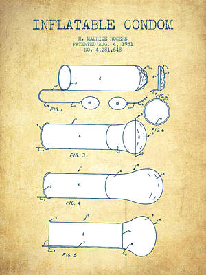 Inflatable Condom Patent From 1981 - Vintage Paper Poster by Aged Pixel