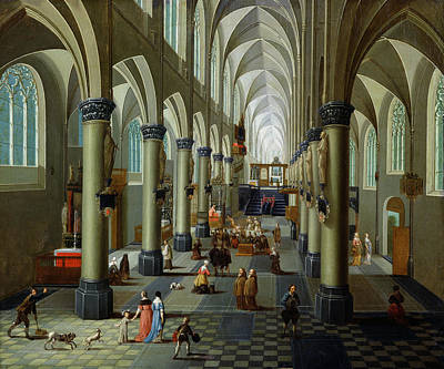 Interior Of A Church Oil On Panel Poster by Pieter the Elder Neeffs