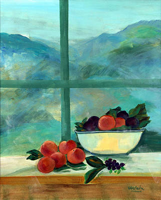 Interior With Window And Fruits Oil & Acrylic On Canvas Poster by Marisa Leon