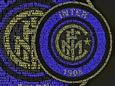 Inter Milan Poster featuring the painting Internazionale Typography Poster by Florian Rodarte