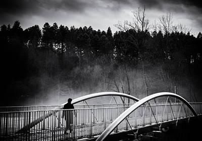 Into The Future - Woman Crossing Bridge Poster by Matthias Hauser