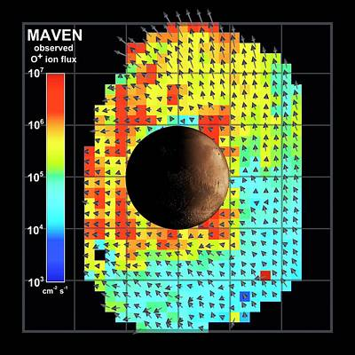 Ion Flux Map Of Solar Wind And Mars Poster by Nasa