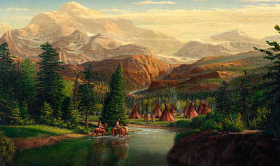 iPhone - Galaxy Case - Indian Village Trapper western mountain landscape oil painting Poster by Walt Curlee