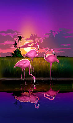 iPhone Case - Flamingoes Flamingos Tropical Sunset landscape florida everglades hot pink purple Poster by Walt Curlee