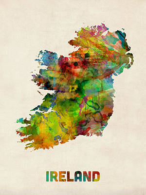 Ireland Eire Watercolor Map Poster by Michael Tompsett