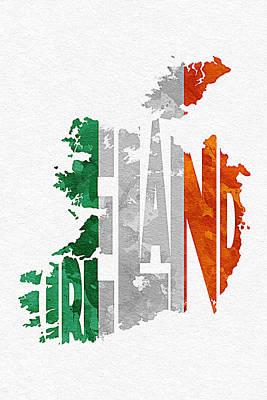 Ireland Typographic Map Flag Poster by Ayse Deniz