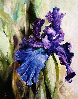 Iris In Bloom 2 Poster by Diane Kraudelt
