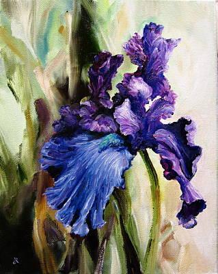Iris In Bloom Poster by Diane Kraudelt