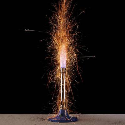 Iron Filings In A Gas Flame Poster by Science Photo Library