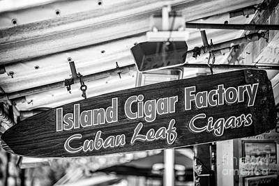 Island Cigar Factory Key West - Black And White Poster by Ian Monk