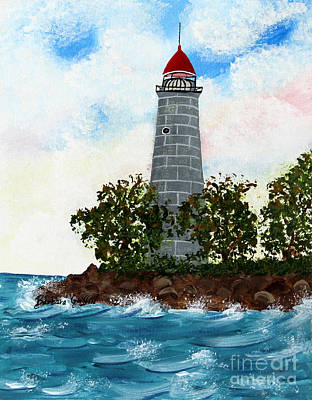Island Lighthouse Poster by Barbara Griffin