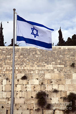 Israel Flag And The Wailing Wall Poster by Eldad Carin
