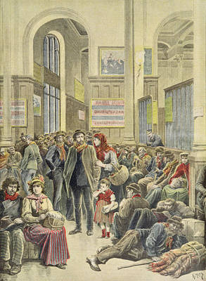 Italian Emigrants At Gare Saint-lazare, From Le Petit Journal, 29th March 1896 Coloured Engraving Poster by Henri Meyer