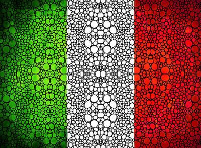 Italian Flag - Italy Stone Rock'd Art By Sharon Cummings Italia Poster by Sharon Cummings