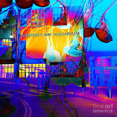Its Raining Jelly Fish At The Monterey Bay Aquarium 5d25177 Square Poster by Wingsdomain Art and Photography