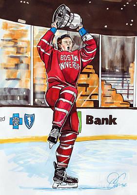 Jack Eichel Of Boston University 2015 Beanpot Champions Poster by Dave Olsen
