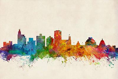 Jackson Mississippi Skyline Poster by Michael Tompsett