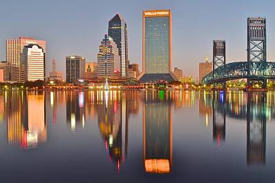Jacksonville Florida At Daybreak Poster by Frozen in Time Fine Art Photography