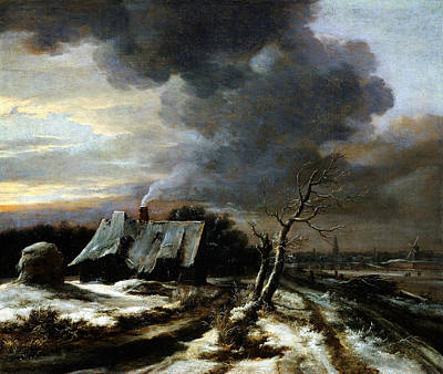 Jacob Van Ruisdael Winter Landscape With A View Of The Amstel River And Amsterdam The 1650s Poster by MotionAge Designs