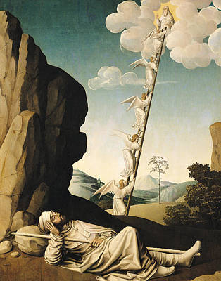 Jacobs Ladder, C.1490 Oil On Panel Poster by French School