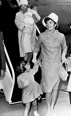 Jacqueline Kennedy With Child Poster by Underwood Archives
