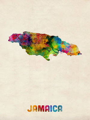 Jamaica Watercolor Map Poster by Michael Tompsett