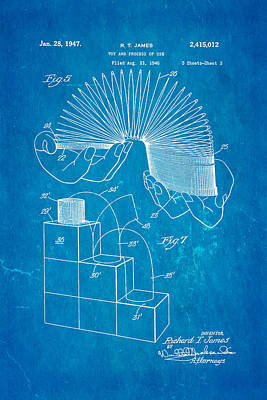James Slinky Toy Patent Art 3 1947 Blueprint Poster by Ian Monk