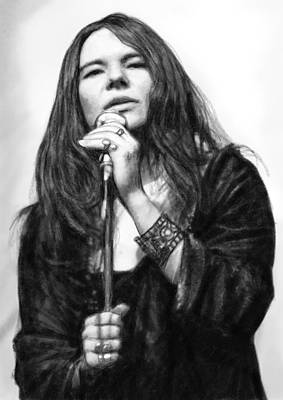 Janis Joplin Art Drawing Sketch Portrait Poster by Kim Wang
