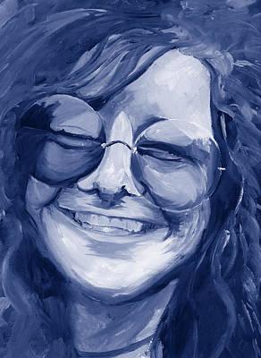 Janis Joplin Blue Poster by Michele Engling