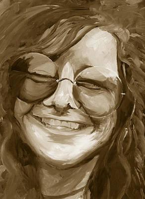 Janis Joplin Gold Poster by Michele Engling