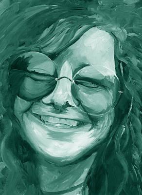 Janis Joplin Green Poster by Michele Engling