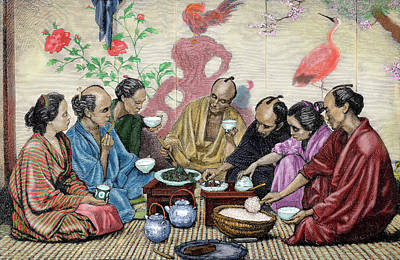 Japanese Family Eating Poster by Prisma Archivo