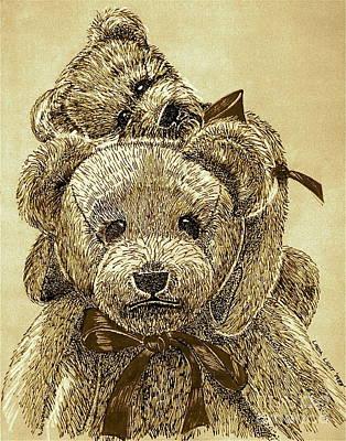 Jared's Bears Sepia Poster by Linda Simon