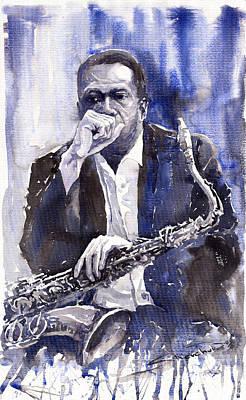 Jazz Saxophonist John Coltrane Blue Poster by Yuriy  Shevchuk