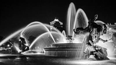 J.c. Nichols Memorial Fountain - Night Bw Poster by Kevin Anderson