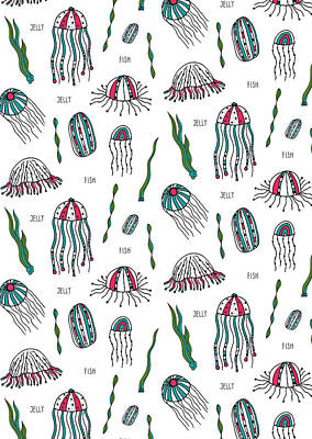 Jellyfish Repeat Print Poster by Susan Claire