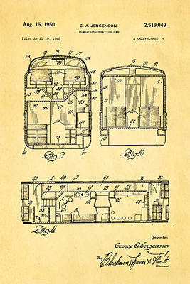 Jergenson Domed Observation Car Patent Art 1950 Poster by Ian Monk