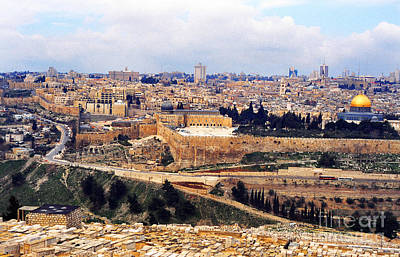Jerusalem From Mount Olive Poster by Thomas R Fletcher