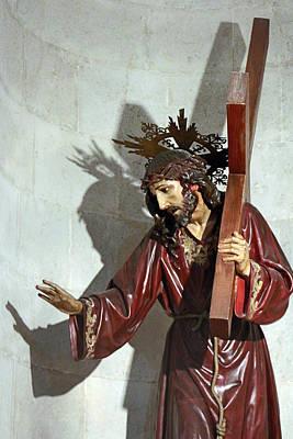 Jesus Holding His Cross Poster by Munir Alawi