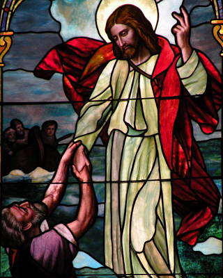 Jesus Rescues Peter From The Sea Poster by Kim Bemis