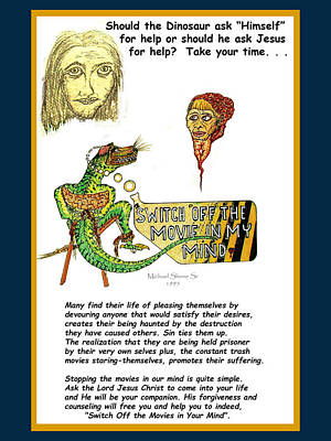 Jesus Switch Off My Minds Movie Poster by Michael Shone SR